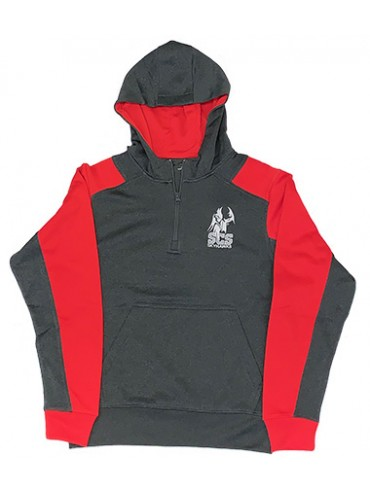 Adult 1/4 Zip Hoodie Red/Gray