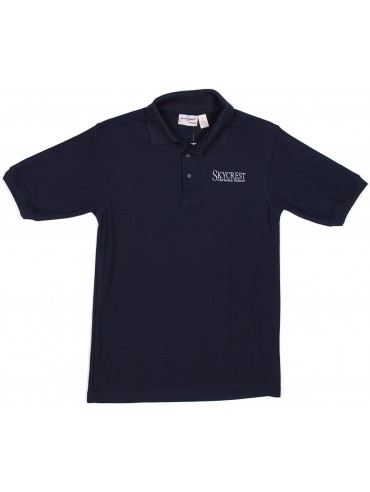 Adult Elderwear Cotton Knit Navy Short Sleeve Polo