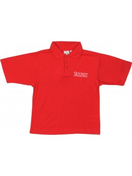 Cotton Knit Youth Red Short Sleeve Polo